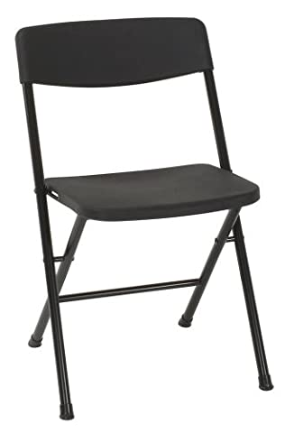 Cosco Resin 4-Pack Folding Chair with Molded Seat and Back, Black (Plastic Chairs Set Of 4)