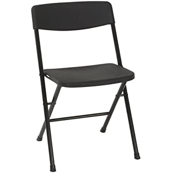 Cosco Resin 4-Pack Folding Chair with Molded Seat and Back, Black