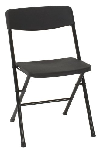 Cosco Resin 4-Pack Folding Chair with Molded Seat and Back, Black (Plastic Stacking Outdoor Chairs)