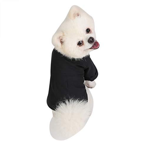 AHAYAKU New Pet Costumes Spring and Fall Breathable Love Print Simple Slim Fit Shirt Black]()