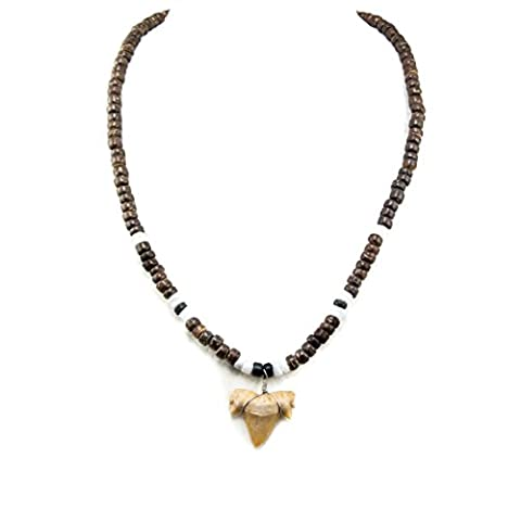 Shark Tooth Pendant on Brown and Black Coconut Wood Beads Necklace with Puka Shells (2S Shark - Coconut Shell Pendant
