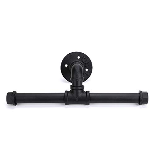 (Sumnacon Double Pipe Vintage Style Toilet Paper Holder, Industrial Iron Pipe Roll Tissue Holder Towel Racks with Hardware for Bathroom, Bedroom, Kitchen, Electroplated Black Finish)