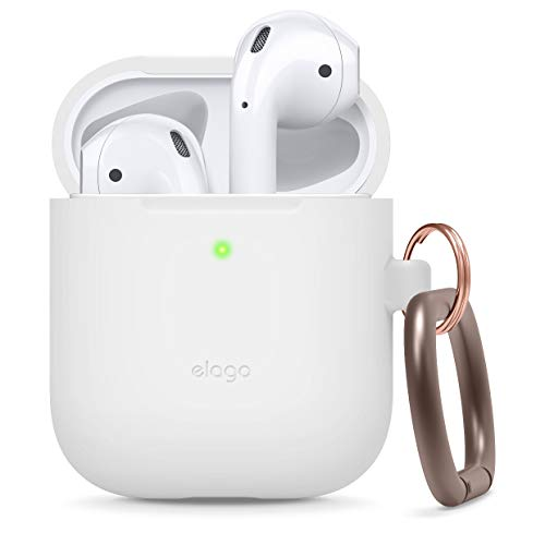 elago Silicone Case with Keychain Designed for Apple AirPods Case, Front LED Visible [ White ]