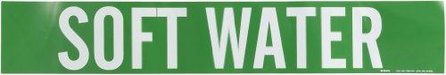 "Brady 7265-1Hv Self-Sticking Vinyl Pipe Marker, B-946, 4"" Height X 24"" Width, White On Green Pressure Sensitive Vinyl, Legend ""Soft Water"""