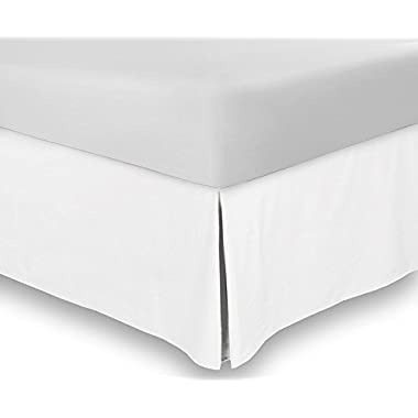 Bed Skirt (King, White, 15 Inch Fall) - Hotel Quality, Iron Easy, Quadruple Pleated , Wrinkle and Fade Resistant - by Utopia Bedding
