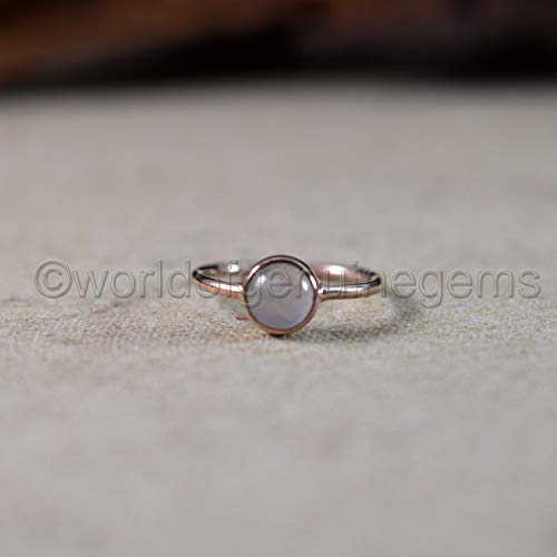 Rose gold Quartz Women's ring, Round Cabachon Rose Quartz Ring, Minimal Women's Ring, Christmas gift for her,Vermeil 925 sterling silver ring, Loving gemstone ring, Quartz jewelry