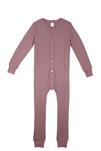 Habit Rags - Boys and Girls Organic Bamboo Union Suit - Best Lightweight Thermal Underwear and Long Johns Onesie for Toddlers and Big Kids (6, Ash Rose)