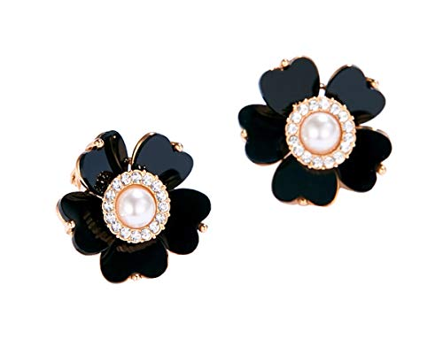 MISASHA Celebrity Designer Faux Imitation Pearl Black Camellia Flower Clips Earrings