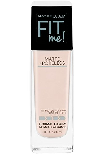 Maybelline New York Fit Me Matte + Poreless Liquid Foundation Makeup, Fair Porcelain, 1 fl. oz. Oil-Free Foundation