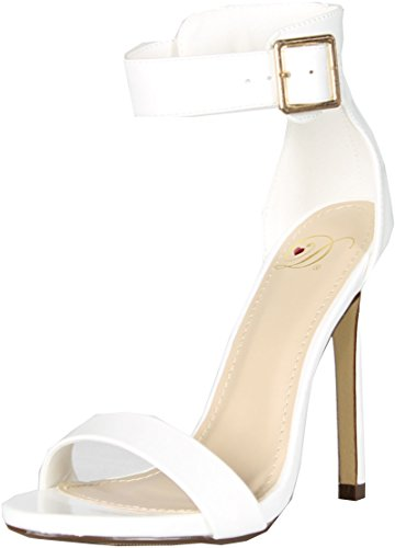 Delicious Womens Canter Classy Dress Open Toe Buckle Ankle Strap Stiletto Heel SandalsWhite Pat7.5