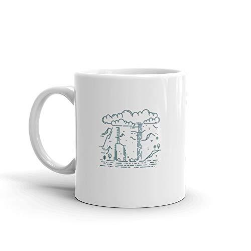 (Huge Waterfall In Mountains North Cascades Funny Cute Mug 11oz Ceramic)