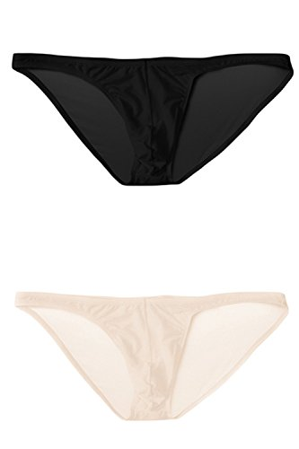 sandbank Men's Sexy Breathable Sheer Ice Silk Bikini Briefs Underwear Panties (US L = Asian Tag 2XL, 2 Pack #1)