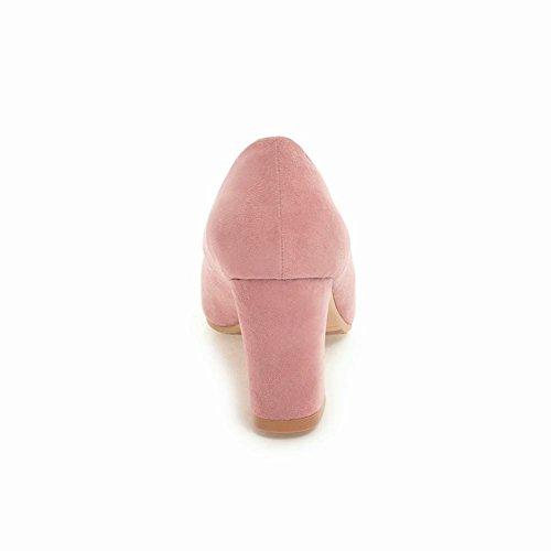 Carolbar Femmes Orteils Doux Noeuds Hauts Talons Pompes Nuptiales Chaussures Rose (nubuck)