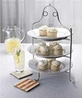 3 Tier Stainless Steel High Tea Serving Plate Stand Round High Tea Display Stand for 3 & Amazon.com | Hammered Stainless Steel Cake Plate: Cake Stands