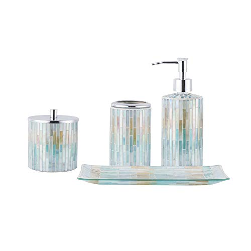 (Whole Housewares Bathroom Accessories Set, 4-Piece Glass Mosaic Bath Accessory Completes with Lotion Dispenser/Soap Pump, Cotton Jar, Vanity Tray, Toothbrush Holder (Blue Multi))