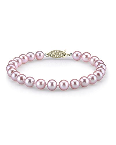 - THE PEARL SOURCE 14K Gold 7-8mm AAA Quality Round Pink Freshwater Cultured Pearl Bracelet for Women