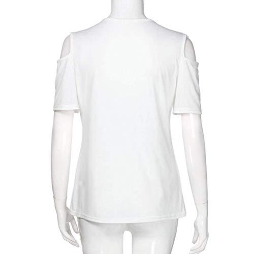 Uni Manches Top Et Branch Femme Nues Chemisier pissure Blanc Chic Col Mode Chemisiers Dentelle Elgante Fit Dentelle Manche Courtes Shirts Slim Rond paules Creux 7xXEwx