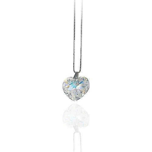 18mm Damen mit Farbe Aurore Kristallwerk ELEMENTS Silber Halskette SWAROVSKI®  925 Crystal Herz Pendant Boreale ... 738db62735