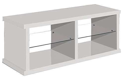 Miroytengo Mesa TV Color Blanco con 2 estantes de Cristal fijos 4 ...