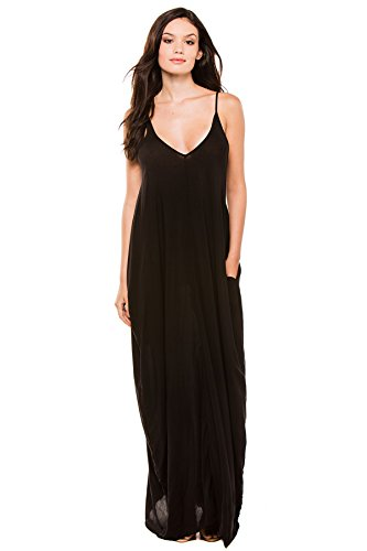 Elan International Women's Wovens Maxi Dress Swim Cover Up Black M