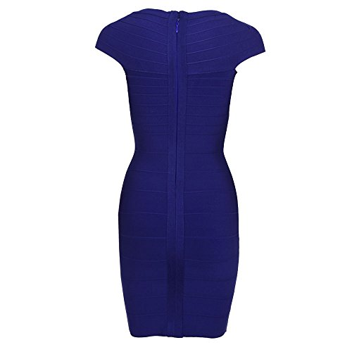 Rayon Cap Hlbandage Mini Collar Sleeve Square Bodycon Dress Azul Women's Bandage gxSXqF