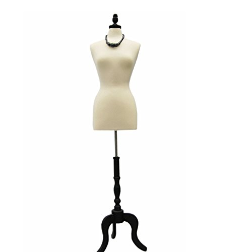 (JF-FWP-W+BS-ATQ-BK) Size 6-8 Premium White Female Fully Pinnable Mannequin Dress Form With Antique Style Tripod Oakwood Base with Cap