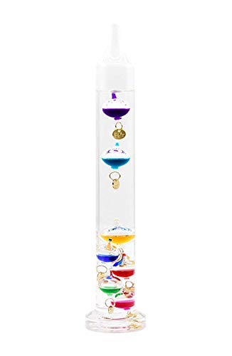 "JulWhisper Galileo Thermometer, 7 Multi-Colored Spheres, Display in Fahrenheit and Celsius, 64 to 84F(16 to 28 Celcius) - 11"" Tall"