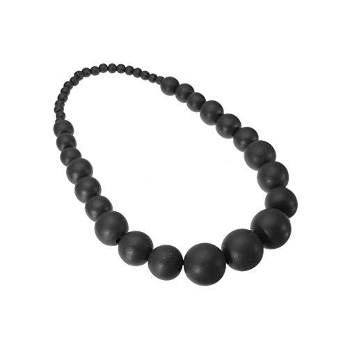 Nataliya Black Round Handmade Wood Bead Statement - Fashion Black Necklace Bead