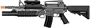 m4 3181 aeg electric airsoft rifle, m203 spring grenade launcher, two stocks, fps-300, extra magazine(Airsoft Gun)