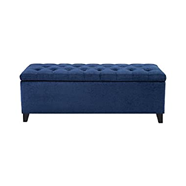 Madison Park Shandra Bench Storage Ottoman with Tufted Top - Blue - 50.3W x19.29Dx18.89H