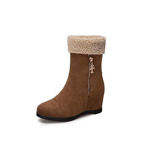 HRCxue HRCxue HRCxue Pumps Bequeme runde Kopf warme Baumwolle Schuhe Metall Reißverschluss Schneestiefel Matte Damen Kurze Stiefel, braun, 34 85a795