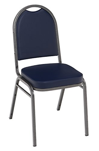 UPC 810389020588, KFI Seating IM520 Armless Stacking Chair, Commercial Grade, 2-Inch, Navy Vinyl/Silver Vein Frame