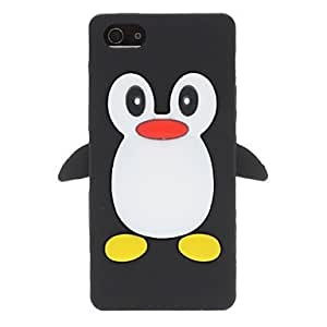3d dibujos animados de pingüinos del caso del estilo de goma de silicona negro para el iphone 5/5s