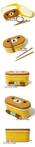 Lovely High Heat Resistance Double Layers Chopsticks Plastic Bento Lunch Box (Brown Cover+Yellow Box)