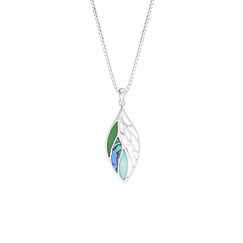 Boma Jewelry Sterling Silver Green Turquoise, Abalone, Green Mother-of-Pearl Leaf Necklace, 20 inches