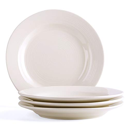 LE TAUCI Ceramic Salad Plate Set - 8 inch for Salad, Dessert, Set of 4, Marshmallow White