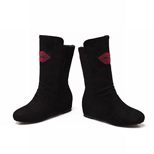 Latasa Womens Fashion Lips Elastic Nubuck Inside Wedge Low Heel Short Pull-on Slouch Boots Black XxEAC