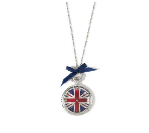 (Union Jack Pocket Watch Pendant Necklace)