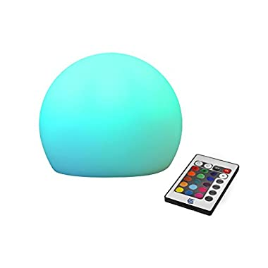 GBGS® Rechargeable LED Lighting Outdoor RGBW Mixing Color Changing Glow Ball Adjustable Wireless Remote Control Mood Lamp Children Movable Romantic Night Light for Bedroom, Camping, Kids(1 Pack)