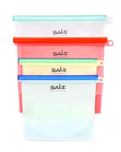 SALT HOME Reusable Silicone Storage Bags | Airtight Food Preservation | Versatile: Microwave, Freezer, Refrigerator, Dishwasher | FDA & SGS Approved | 4 Pack | 1 & 1.5 Liter