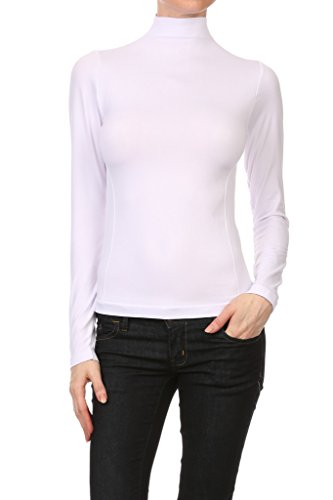 Long Sleeve Spandex Mock Turtleneck (WHITE APPAREL Women's Long Sleeve Mock Turtleneck Top - White)
