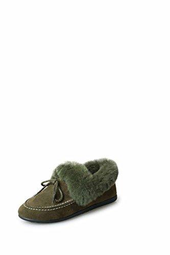 Zapatos piso Otoño algodón nieve lujoso Invierno de HDYS de Mujer green1 de de botas Añadir estudiantes dxqwtgHYU