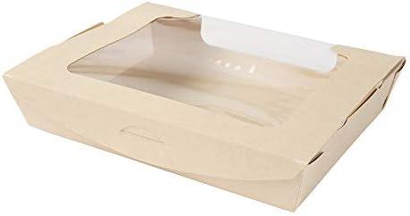 BIOZOYG Caja para Llevar de Fibras de bambú I Hermosa Caja de cartón Tree Free con Ventana de visión, Seguro y Resistente a la Humedad I 50 pzas. Cajas de Regalo para