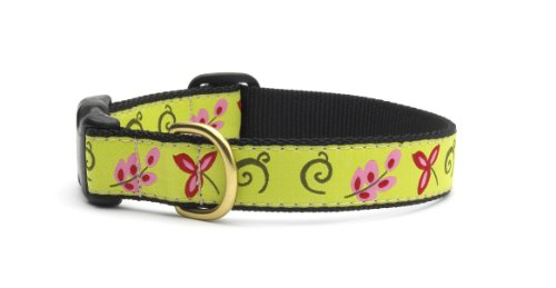Green Floral Dog Collar with Quick Release Buckle - Medium (12-18 Inches) - 5/8 In Width