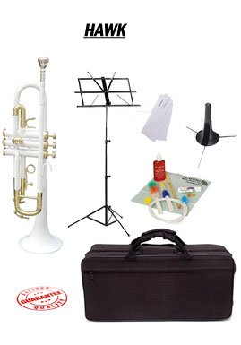 Hawk White Bb Trumpet School Package with Case Music Stand Trumpet Stand and Cleaning Kit WD-T314-WH-PACK