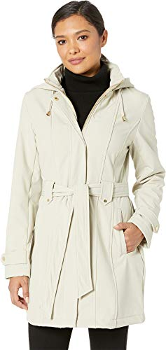 - Via Spiga Women's Stand Collar Belted Fleece Lined Raincoat Stone Large