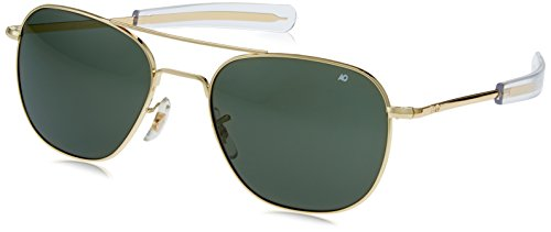 AO Original Pilot 57mm Gold Frame with Bayonet Temples and True Color Green Glass - Original Ao Pilot Sunglasses