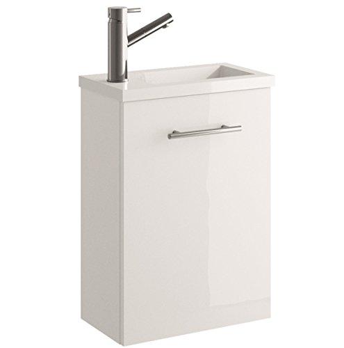 Cygnus Bath Mini Waschtisch Waschbecken Bad, ausgesetzt, mit 1Tür Absenkautomatik 40x22x48 cm Brillo lacado - Blanco
