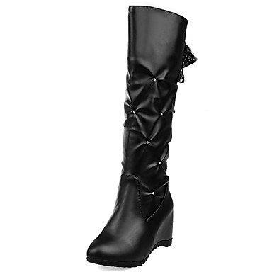 Heart&M Damen Schuhe Kunstleder PU Herbst Winter Komfort Neuheit Modische Stiefel Stiefel Flacher Absatz Runde Zehe Kniehohe Stiefel Band-Bindung black
