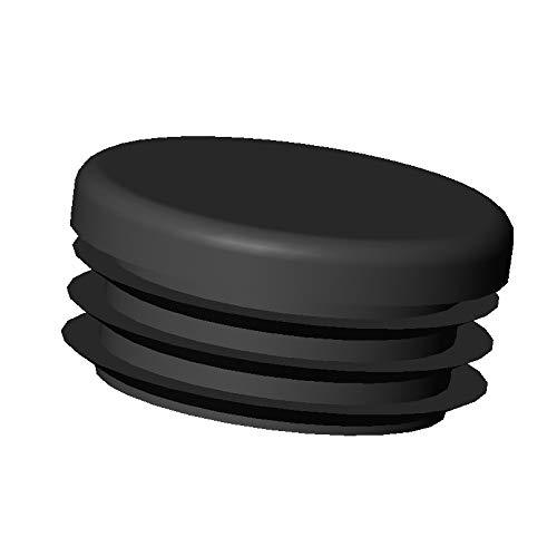 ajile - 4 piezas - Contera redonda acanalada para tubos - diá metro 40 mm - NEGRO - EPR140-M